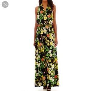 STELLA PARKER halter neck black floral maxi dress